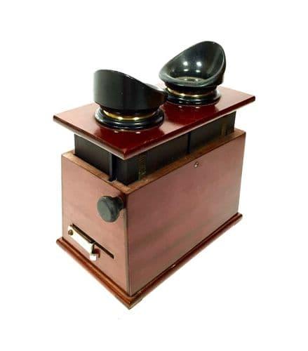 Antique Wooden Mahogany Handheld Stereo Viewer / Stereoscope / c1910 Verascope